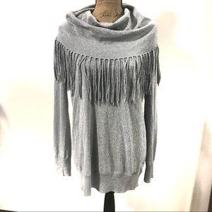 MICHAEL Michael Kors Fringe Cowl Neck Sweater L